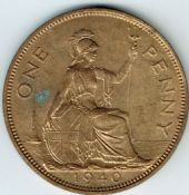 George VI, One Penny 1940 (Scarcer Year), AUNC, M9017